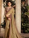 image of Function Wear Fancy Fabric Beige Embroidered Saree With Designer Blouse