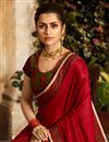 photo of Fancy Fabric Function Wear Red Embellished Saree With Heavy Blouse