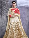 image of Festive Wear Beige Color Designer Fancy Fabric Long Anarkali Suit With Embroidery Work