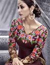 photo of Artistic Embroidery Design On Silk Fabric Designer Wine Color Long Anarkali Salwar Kameez