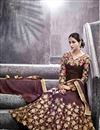 picture of Artistic Embroidery Design On Silk Fabric Designer Wine Color Long Anarkali Salwar Kameez