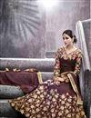 picture of Artistic Embroidery Design On Silk Fabric Designer Wine Color Long Anarkali Salwar Kameez