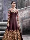 image of Artistic Embroidery Design On Silk Fabric Designer Wine Color Long Anarkali Salwar Kameez