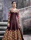 image of Artistic Embroidery Design On Silk Fabric Designer Wine Color Long Anarkali Salwar Kameez