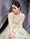 photo of Net Fabric Festive Wear Embroidered Off White Color Designer Long Anarkali