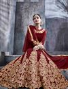 picture of Festive Wear Maroon Color Designer Georgette Fabric Long Anarkali Suit With Embroidery Work