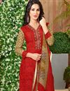 photo of Ready To Ship Red Color Daily Wear Cotton Fabric Printed Palazzo Salwar Kameez