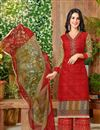 image of Ready To Ship Red Color Daily Wear Cotton Fabric Printed Palazzo Salwar Kameez