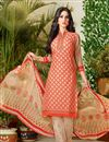 image of Punjabi Cotton Fabric Beige Color Daily Wear Salwar Suit With Charming Print Designs