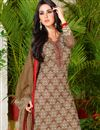 photo of Brown Color Daily Wear Cotton Fabric Printed Salwar Kameez