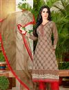 image of Brown Color Daily Wear Cotton Fabric Printed Salwar Kameez