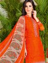 photo of Alluring Orange Color Casual Wear Fancy Print Cotton Palazzo Suit