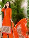 image of Alluring Orange Color Casual Wear Fancy Print Cotton Palazzo Suit