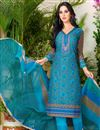 image of Punjabi Cotton Fabric Sky Blue Color Daily Wear Salwar Suit With Charming Print Designs
