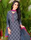 photo of Alluring Grey Color Casual Wear Fancy Print Punjabi Cotton Suit