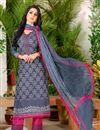 image of Alluring Grey Color Casual Wear Fancy Print Punjabi Cotton Suit