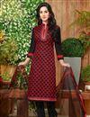 image of Regular Wear Cotton Fabric Printed Salwar Kameez In Black Color