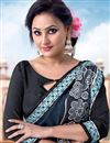 photo of Cyan-Grey Color Designer Saree In Georgette Fabric With Embroidery