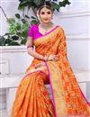 photo of Banarasi Silk Function Wear Orange Saree With Weaving Work