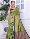 image of Wedding Wear Weaving Work Banarasi Silk Green Saree