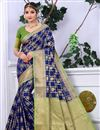 image of Navy Blue Banarasi Silk Traditional Saree With Weaving Work