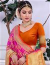 photo of Banarasi Silk Designer Saree In Rani Color With Weaving Work