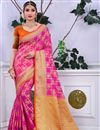 image of Banarasi Silk Designer Saree In Rani Color With Weaving Work