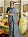 image of Eid Special Art Silk Fabric Party Wear Saree In Grey With Embroidery Work