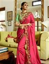 image of Art Silk Fabric Rani Designer Embroidered Saree With Blouse