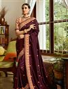 image of Burgundy Embroidered Sangeet Wear Art Silk Fabric Saree With Blouse