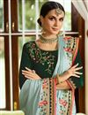 photo of Eid Special Embroidered Light Cyan Wedding Wear Art Silk Fabric Saree With Blouse