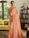 image of Satin Fabric Salmon Designer Embroidered Saree With Blouse