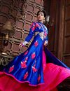photo of Blue Color Floor Length Designer Georgette Anarkali Suit with Embroidery