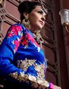 picture of Floor Length Georgette Fabric Anarkali Salwar Suit in Blue Color
