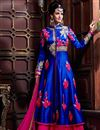 image of Floor Length Georgette Fabric Anarkali Salwar Suit in Blue Color