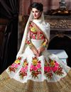 photo of Off White Color Floor Length Designer Georgette Anarkali Suit with Embroidery