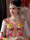 picture of Off White Color Floor Length Designer Georgette Anarkali Suit with Embroidery