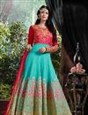 image of Aqua Color Georgette Anarkali Salwar Kameez with Embroidery Work
