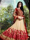 photo of Red-Cream Color Floor Touch Georgette Anarkali Salwar Suit with Embroidery