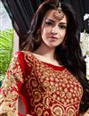picture of Red-Cream Color Floor Touch Georgette Anarkali Salwar Suit with Embroidery