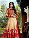 image of Georgette Fabric Floor Length Anarkali Salwar Suit in Red-Cream Color