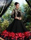 photo of Floor Length Georgette Fabric Anarkali Salwar Suit in Black Color
