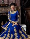 picture of Blue Color Floor Length Designer Georgette Anarkali Suit with Embroidery