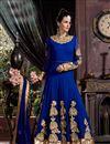 image of Floor Length Georgette Fabric Anarkali Salwar Suit in Blue Color