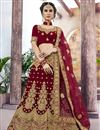image of Eid Special Maroon Wedding Wear Embroidered Lehenga In Velvet Fabric With Designer Blouse