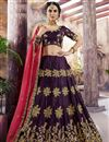 image of Sangeet Functtion Wear Art Silk Designer Lehenga Choli In Wine Color With Attractive Blouse