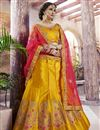 image of Function Wear Designer Embroidered Lehenga In Mustard Satin Fabric With Fancy Blouse