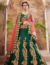 image of Dark Green Sangeet Wear Designer Lehenga In Satin Fabric With Embroidery Work