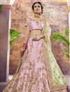 image of Satin Fabric Pink Reception Wear Designer Embroidered Lehenga Choli