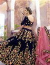 photo of Velvet Fabric Navy Blue Reception Wear Designer Embroidered Lehenga Choli